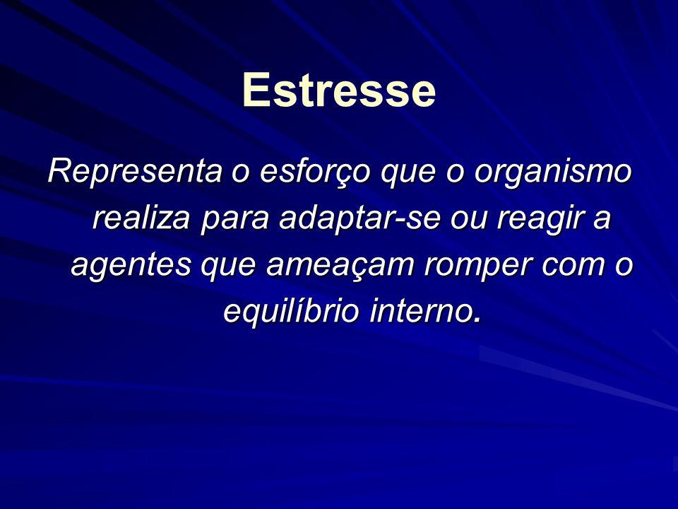 Estresse Representa o esforço que o organismo realiza para adaptar-se ou reagir a agentes que ameaçam romper com o equilíbrio interno.