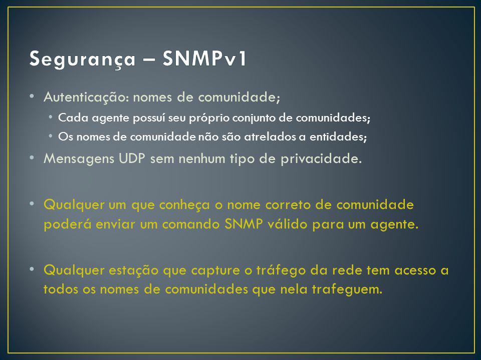 Segurança – SNMPv1 Autenticação: nomes de comunidade;