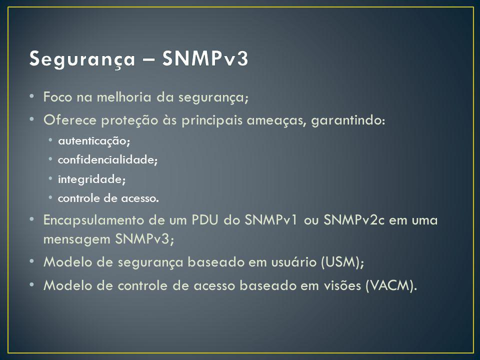 Segurança – SNMPv3 Foco na melhoria da segurança;