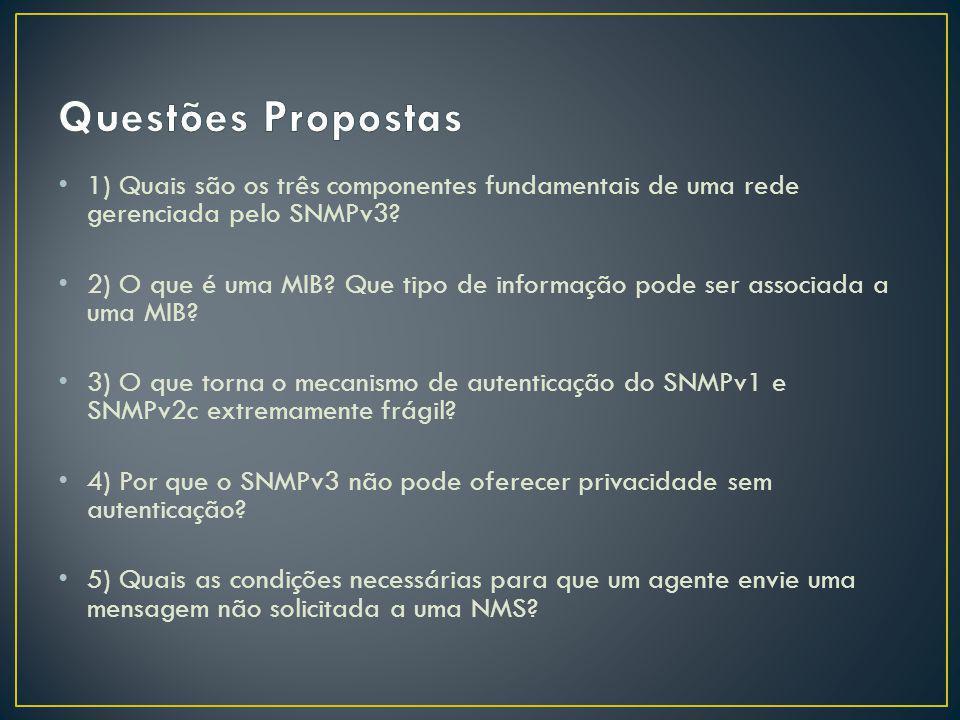 Questões Propostas 1) Quais são os três componentes fundamentais de uma rede gerenciada pelo SNMPv3