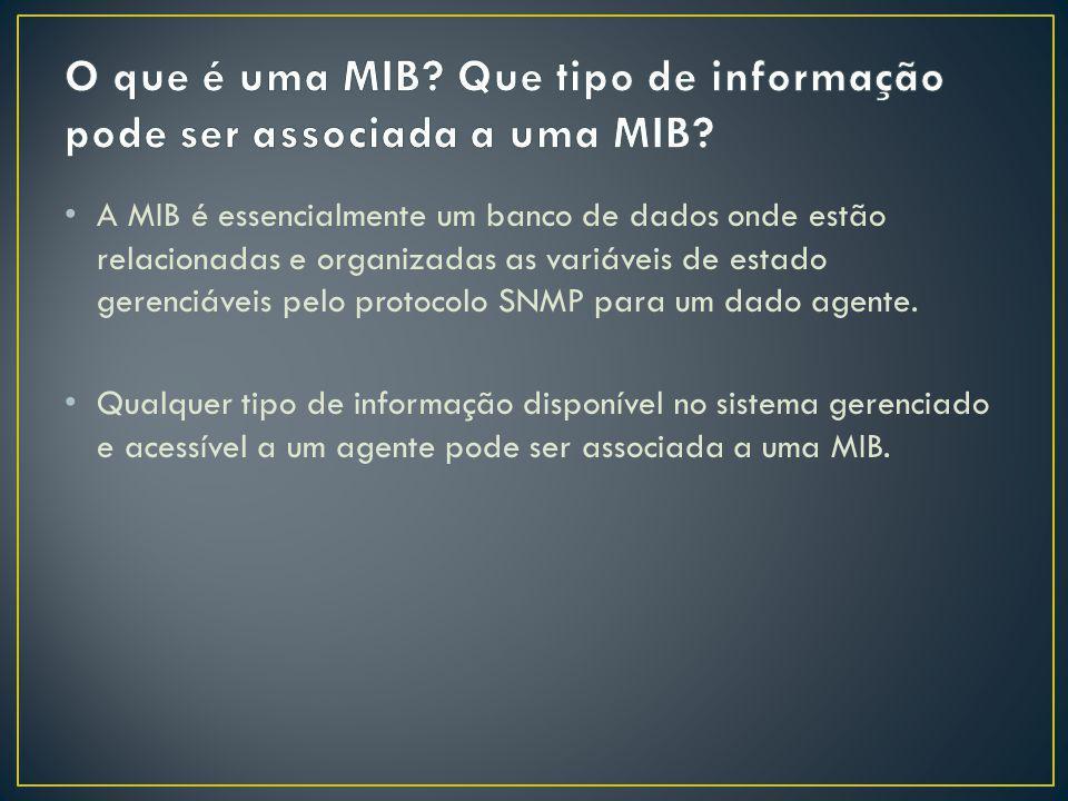 O que é uma MIB Que tipo de informação pode ser associada a uma MIB