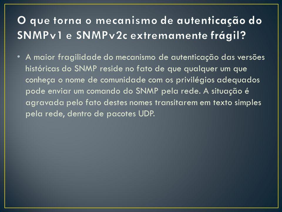 O que torna o mecanismo de autenticação do SNMPv1 e SNMPv2c extremamente frágil