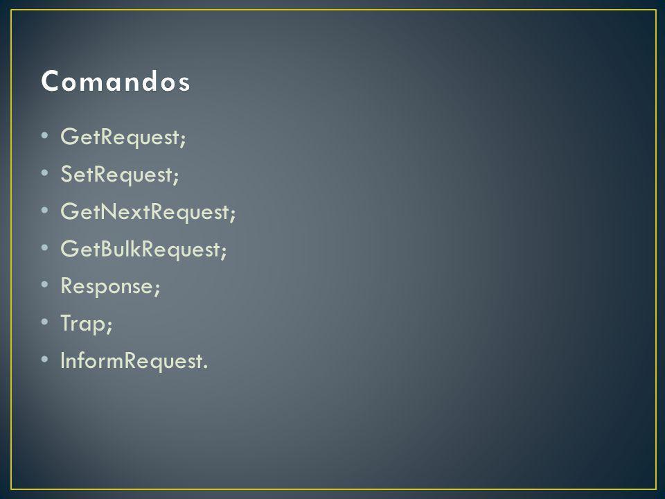 Comandos GetRequest; SetRequest; GetNextRequest; GetBulkRequest;