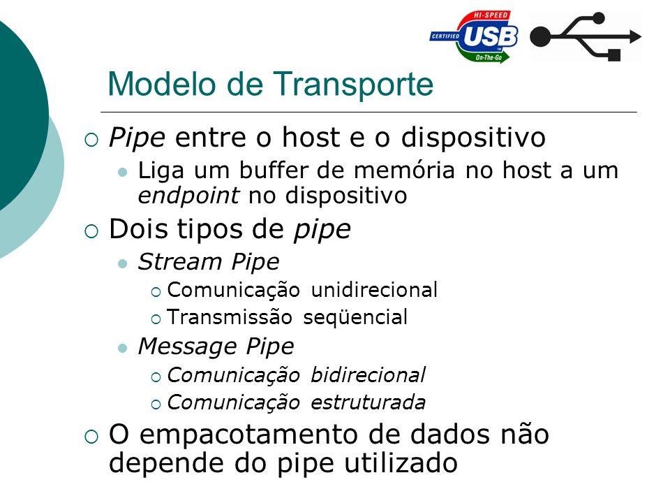 Modelo de Transporte Pipe entre o host e o dispositivo