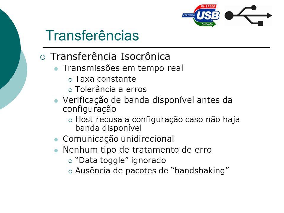 Transferências Transferência Isocrônica Transmissões em tempo real