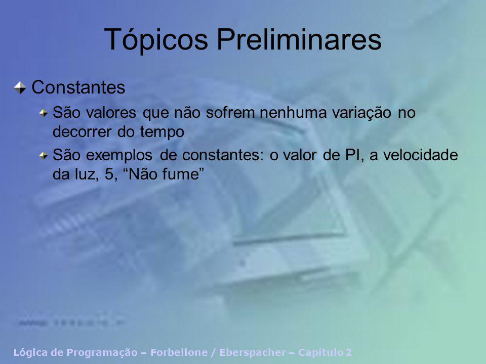 Tópicos Preliminares Constantes