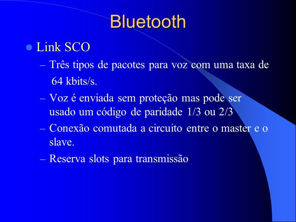 Bluetooth Link SCO Três tipos de pacotes para voz com uma taxa de