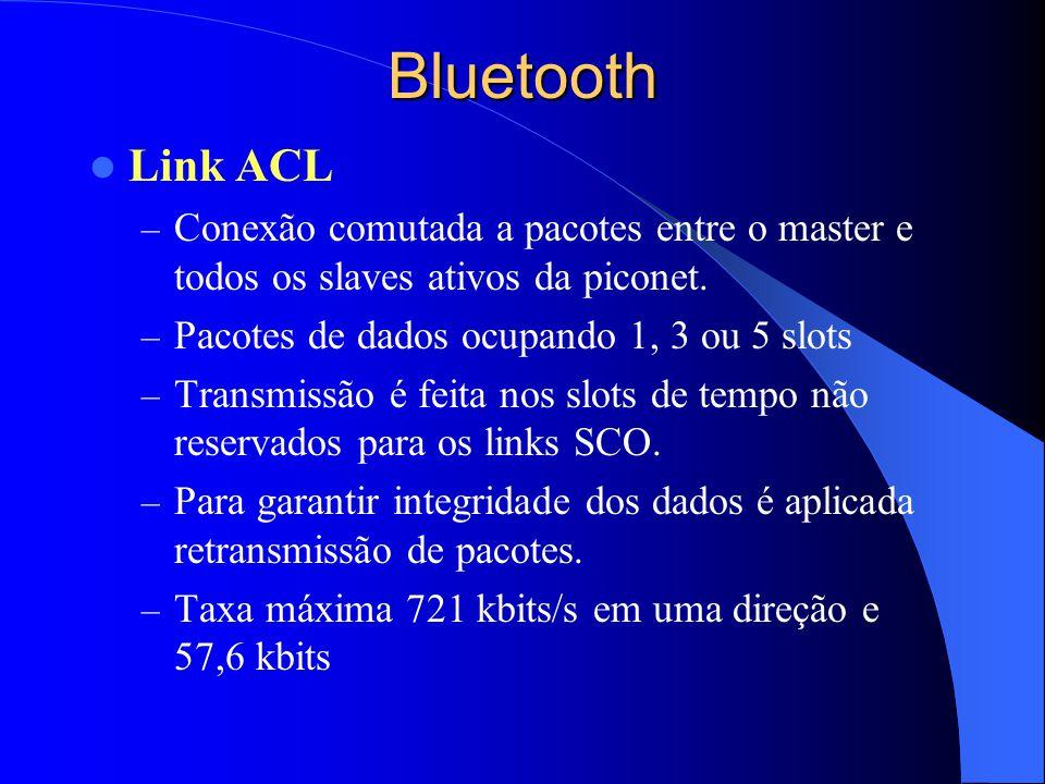 Bluetooth Link ACL. Conexão comutada a pacotes entre o master e todos os slaves ativos da piconet.