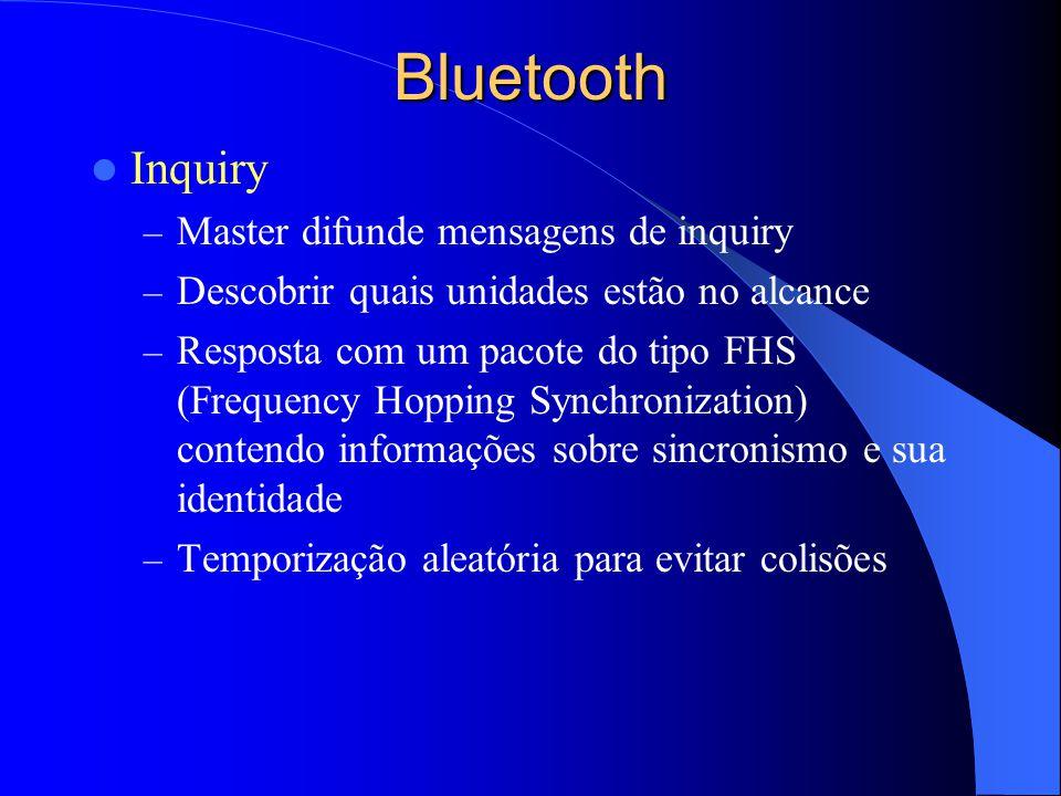 Bluetooth Inquiry Master difunde mensagens de inquiry