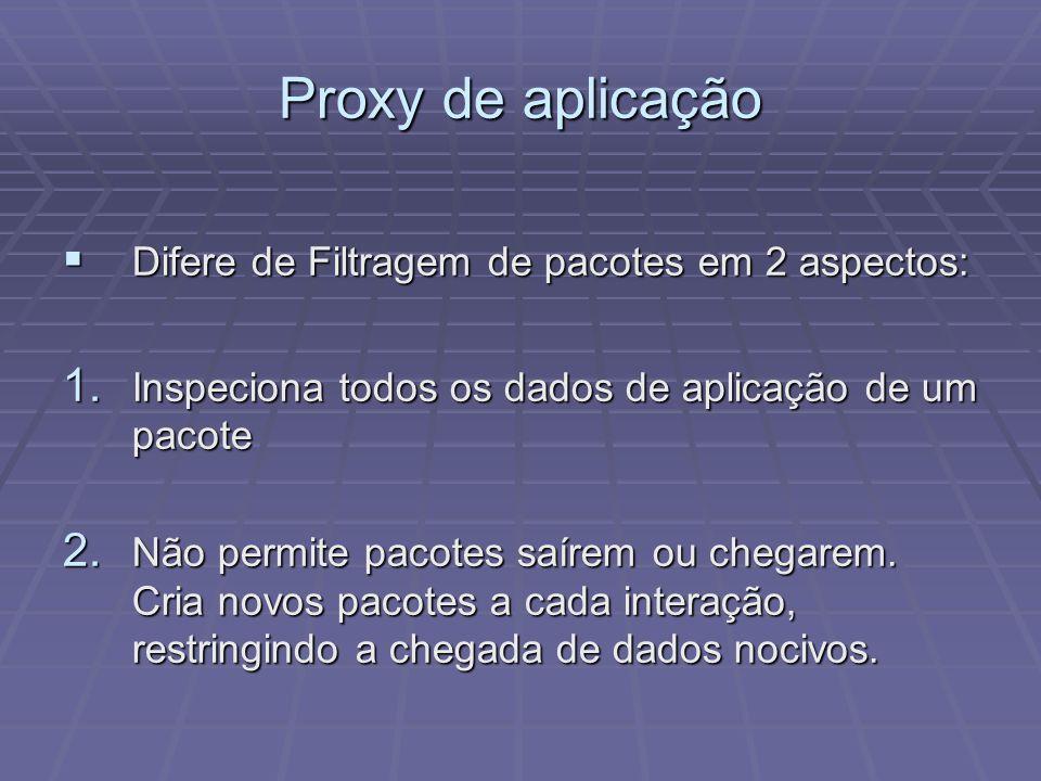 Proxy de aplicação Difere de Filtragem de pacotes em 2 aspectos: