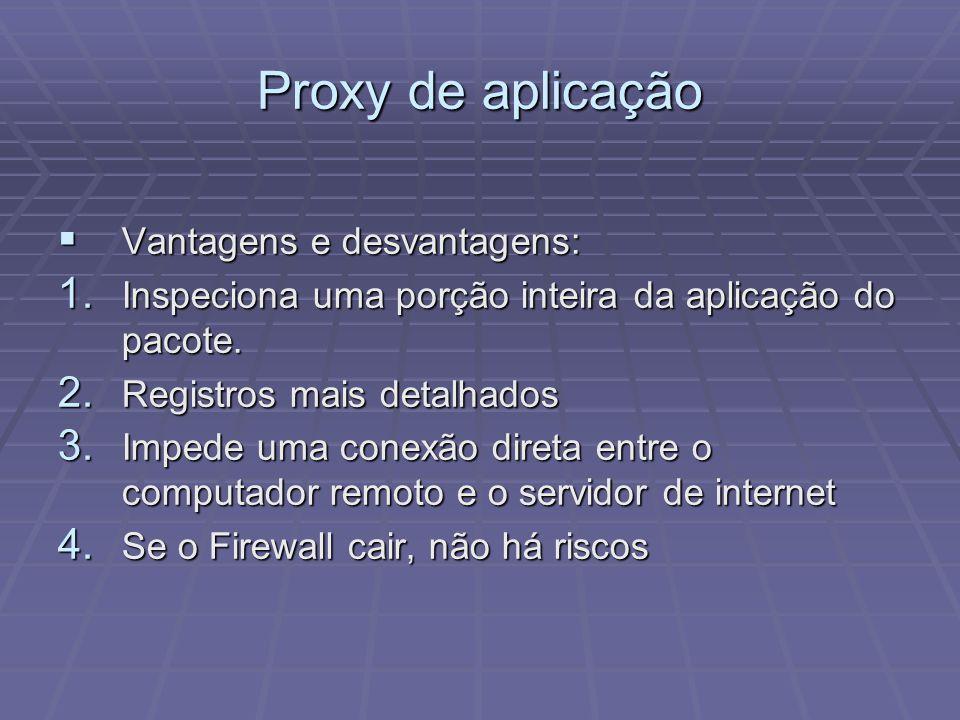Proxy de aplicação Vantagens e desvantagens: