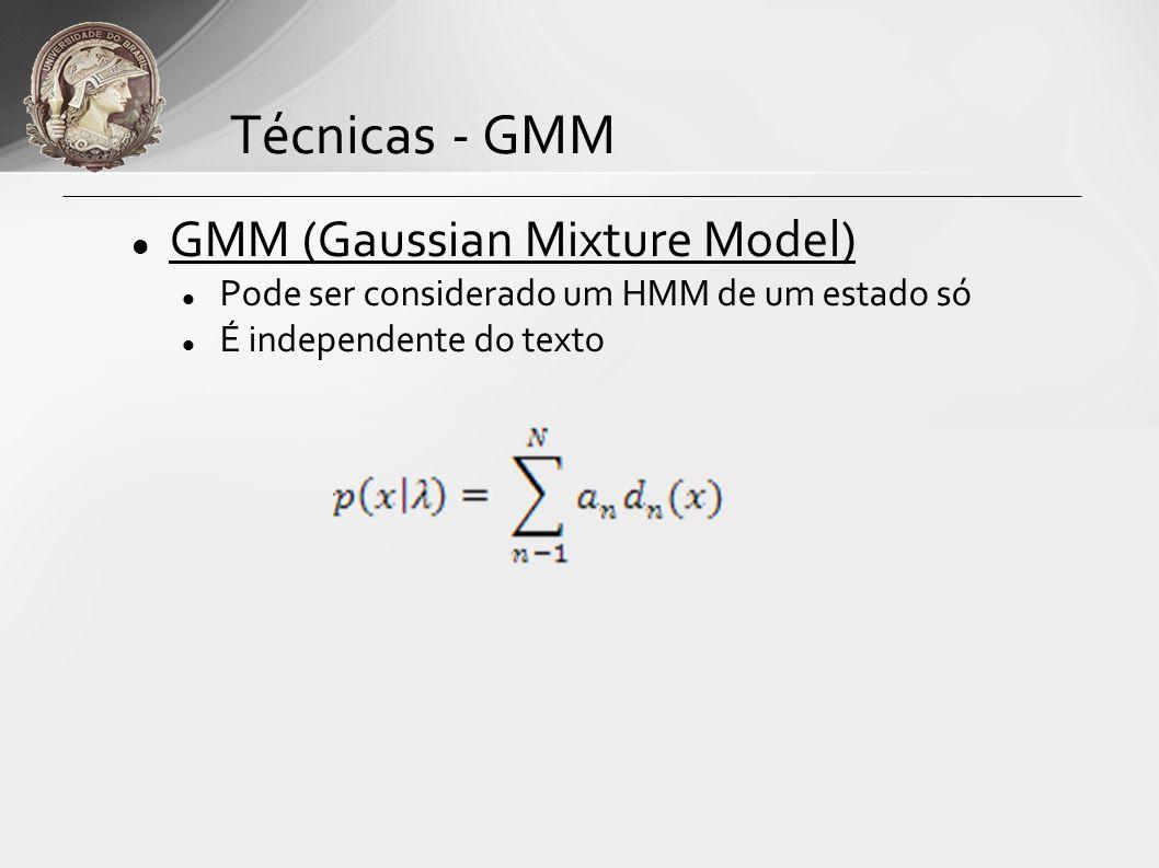 Técnicas - GMM GMM (Gaussian Mixture Model)