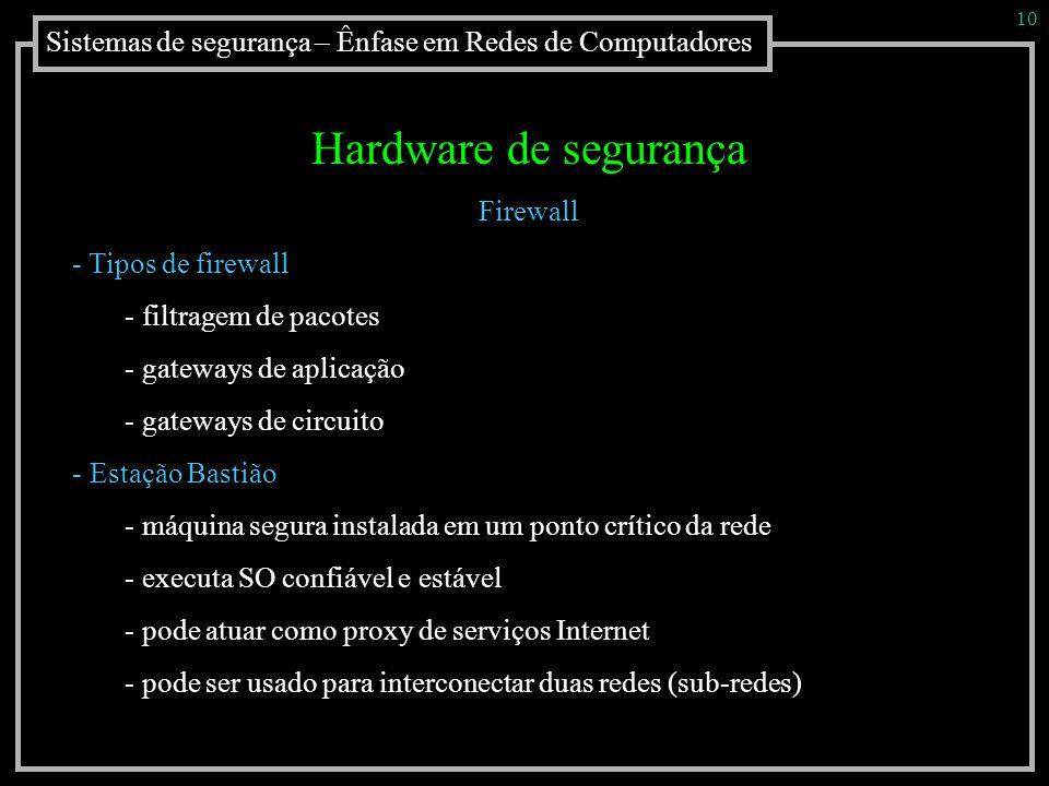 10 Sistemas de segurança – Ênfase em Redes de Computadores. Hardware de segurança. Firewall. Tipos de firewall.