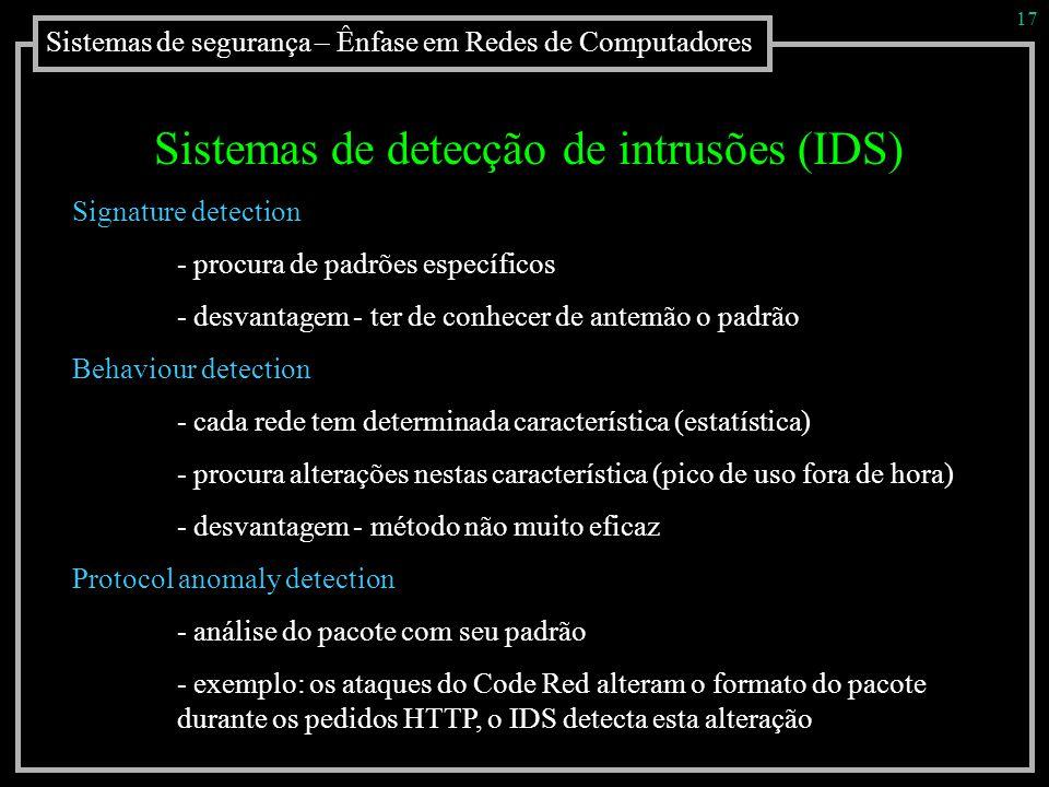 Sistemas de detecção de intrusões (IDS)
