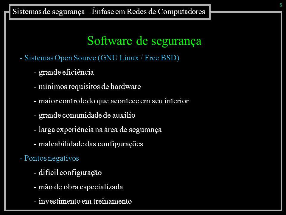 8 Sistemas de segurança – Ênfase em Redes de Computadores. Software de segurança. Sistemas Open Source (GNU Linux / Free BSD)