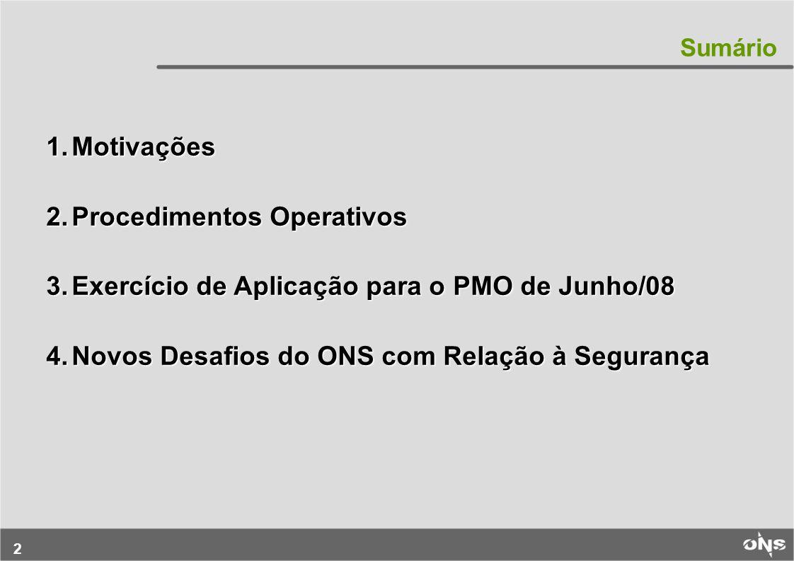 Procedimentos Operativos Exercício de Aplicação para o PMO de Junho/08