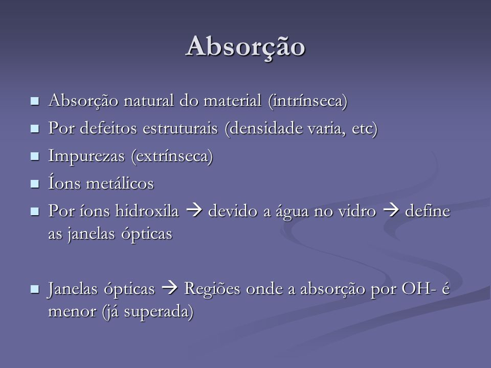 Absorção Absorção natural do material (intrínseca)