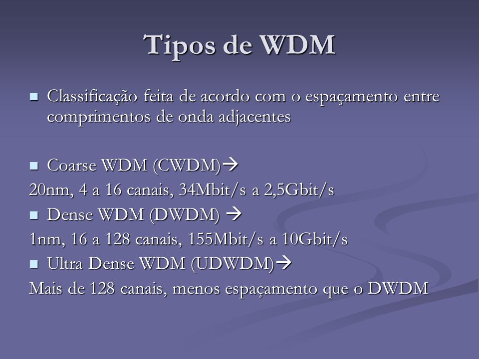 Tipos de WDM Classificação feita de acordo com o espaçamento entre comprimentos de onda adjacentes.