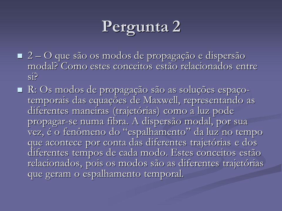 Pergunta 2 2 – O que são os modos de propagação e dispersão modal Como estes conceitos estão relacionados entre si