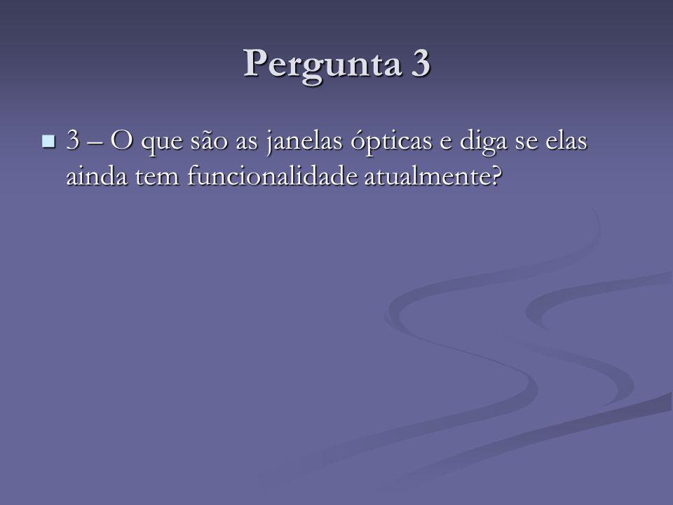 Pergunta 3 3 – O que são as janelas ópticas e diga se elas ainda tem funcionalidade atualmente