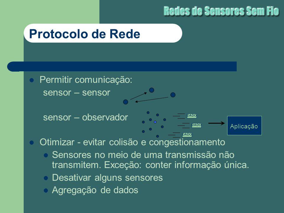 Protocolo de Rede Permitir comunicação: sensor – sensor