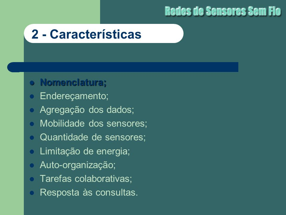 2 - Características Nomenclatura; Endereçamento; Agregação dos dados;