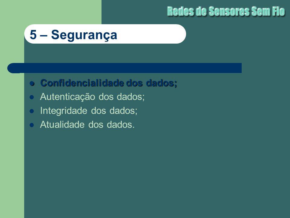 5 – Segurança Confidencialidade dos dados; Autenticação dos dados;