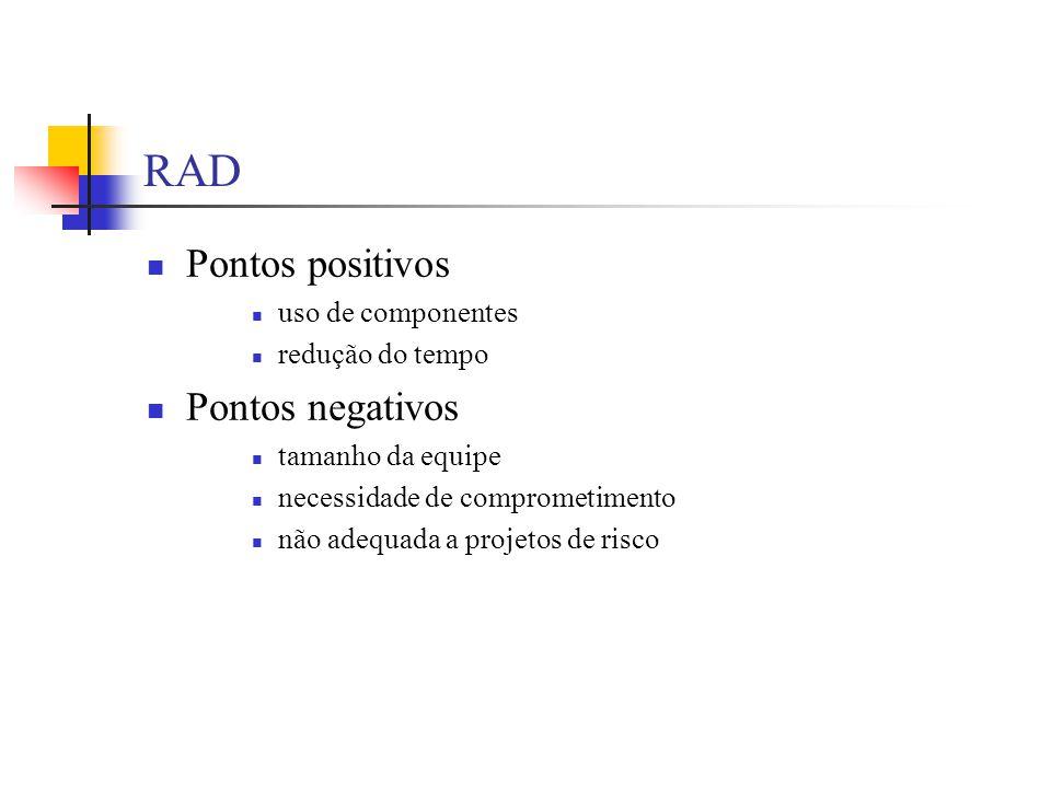 RAD Pontos positivos Pontos negativos uso de componentes