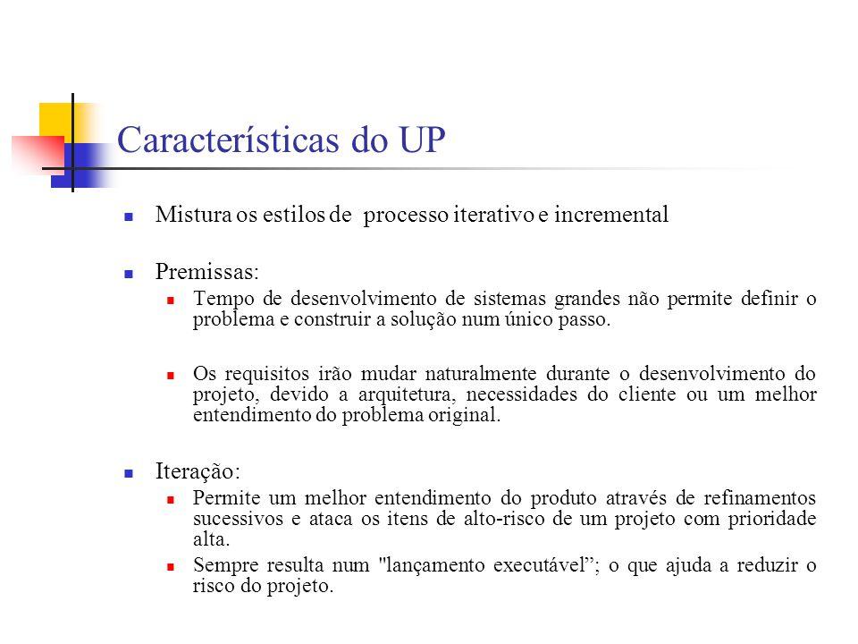 Características do UP Mistura os estilos de processo iterativo e incremental. Premissas:
