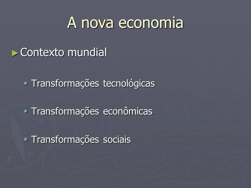 A nova economia Contexto mundial Transformações tecnológicas