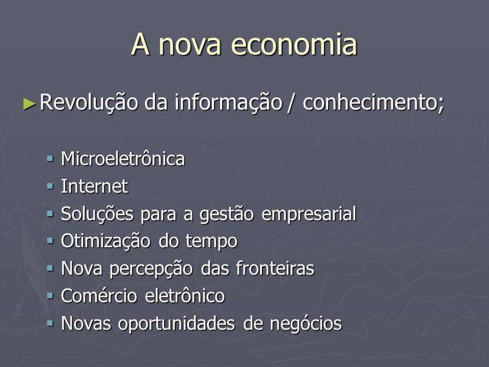 A nova economia Revolução da informação / conhecimento;