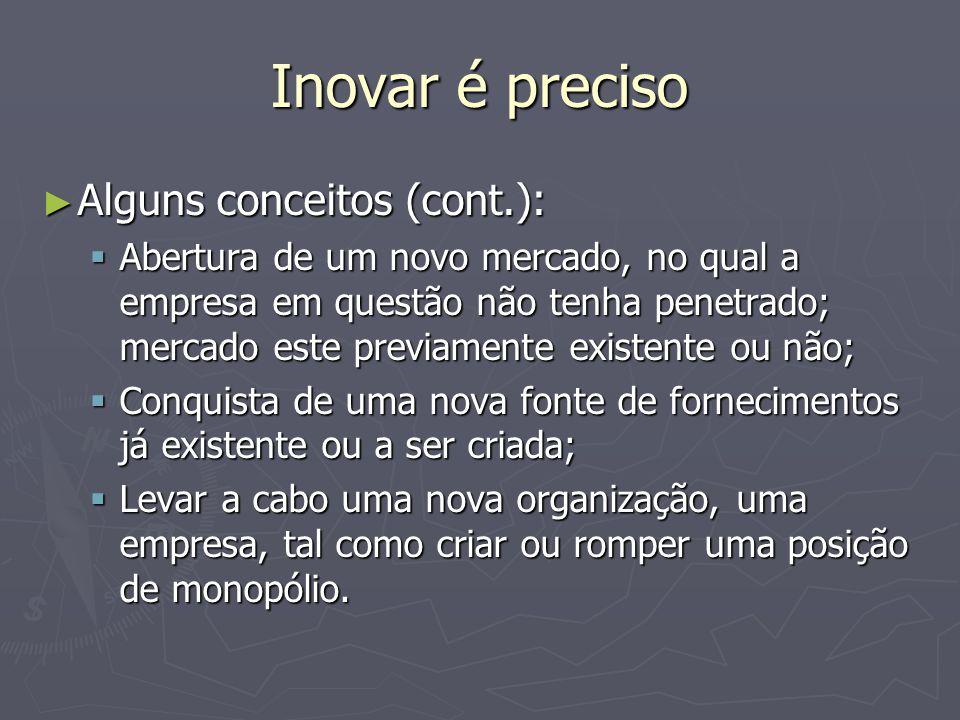 Inovar é preciso Alguns conceitos (cont.):