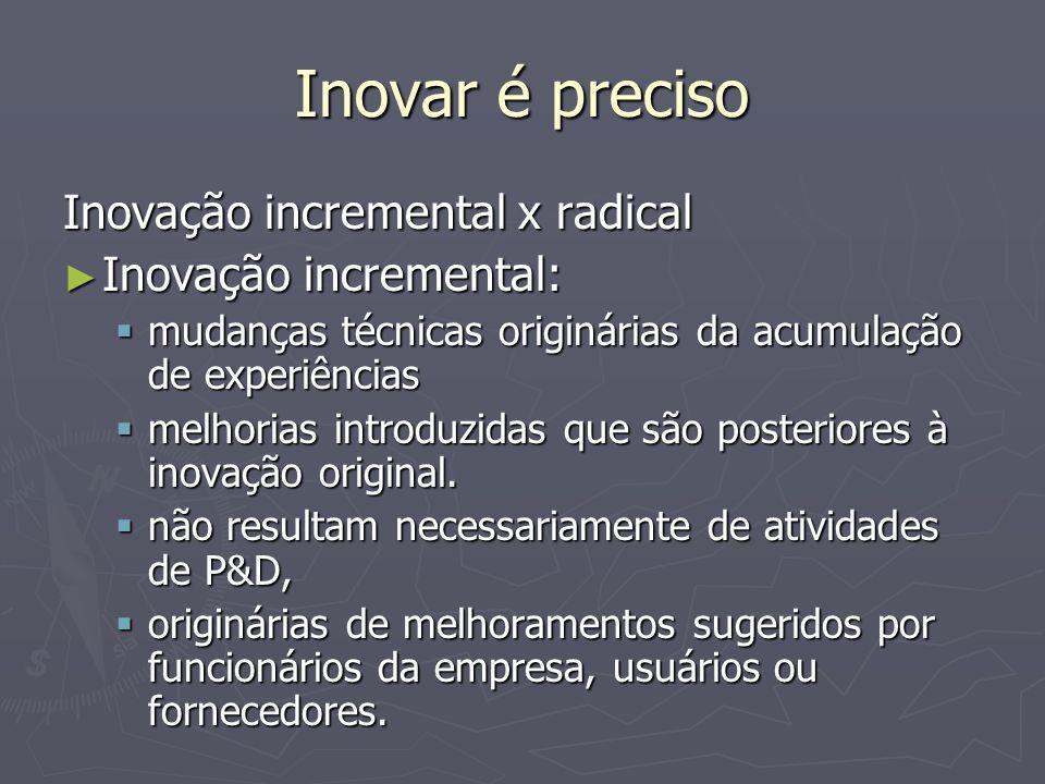 Inovar é preciso Inovação incremental x radical Inovação incremental: