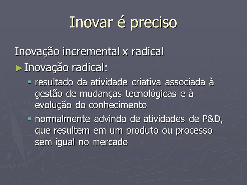 Inovar é preciso Inovação incremental x radical Inovação radical: