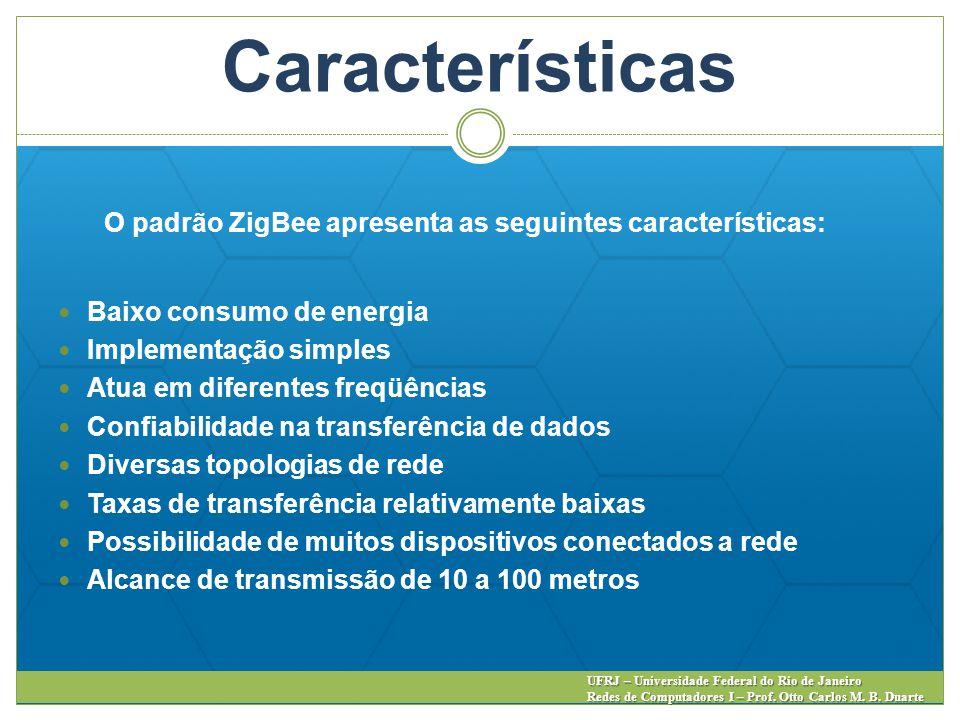 Características O padrão ZigBee apresenta as seguintes características: Baixo consumo de energia. Implementação simples.
