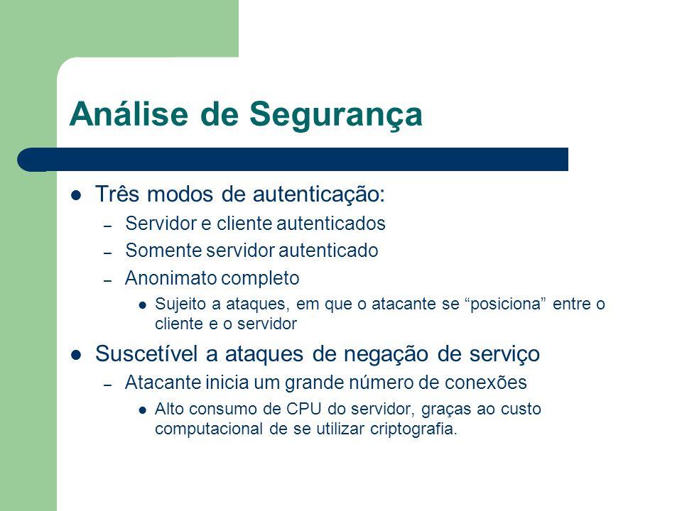 Análise de Segurança Três modos de autenticação: