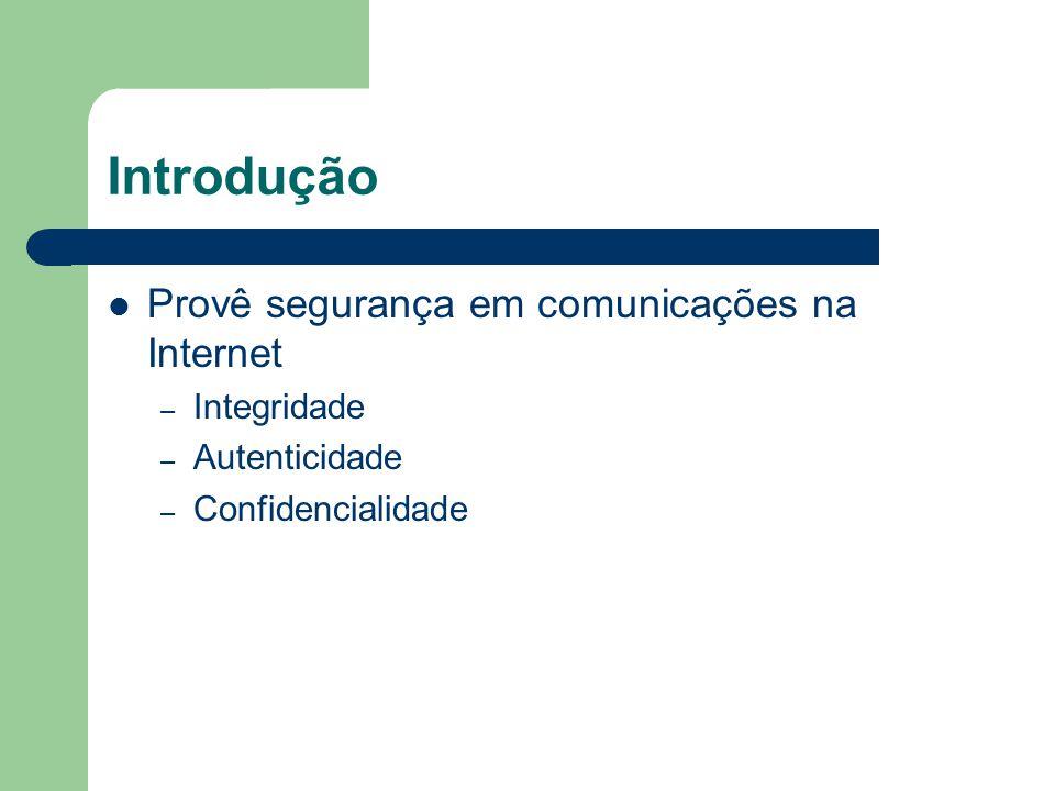Introdução Provê segurança em comunicações na Internet Integridade