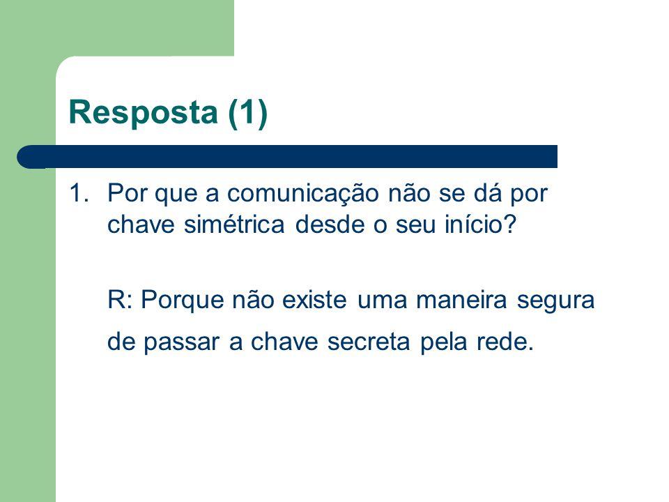Resposta (1) 1. Por que a comunicação não se dá por chave simétrica desde o seu início