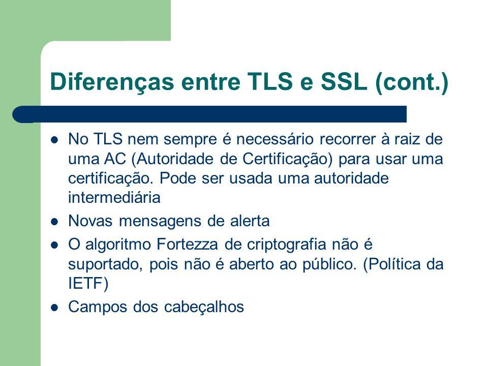 Diferenças entre TLS e SSL (cont.)