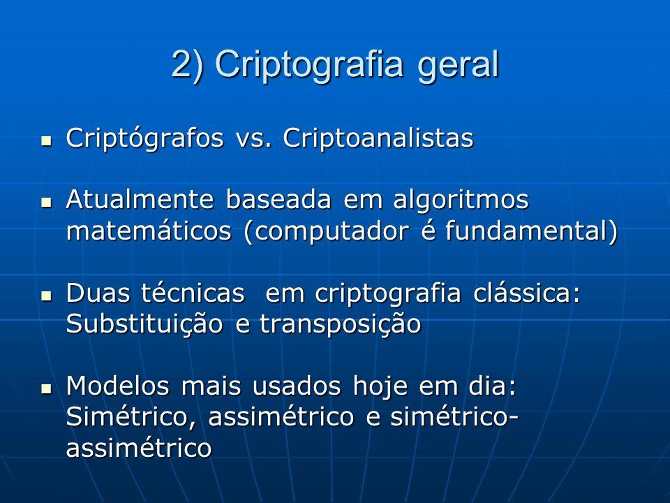 2) Criptografia geral Criptógrafos vs. Criptoanalistas