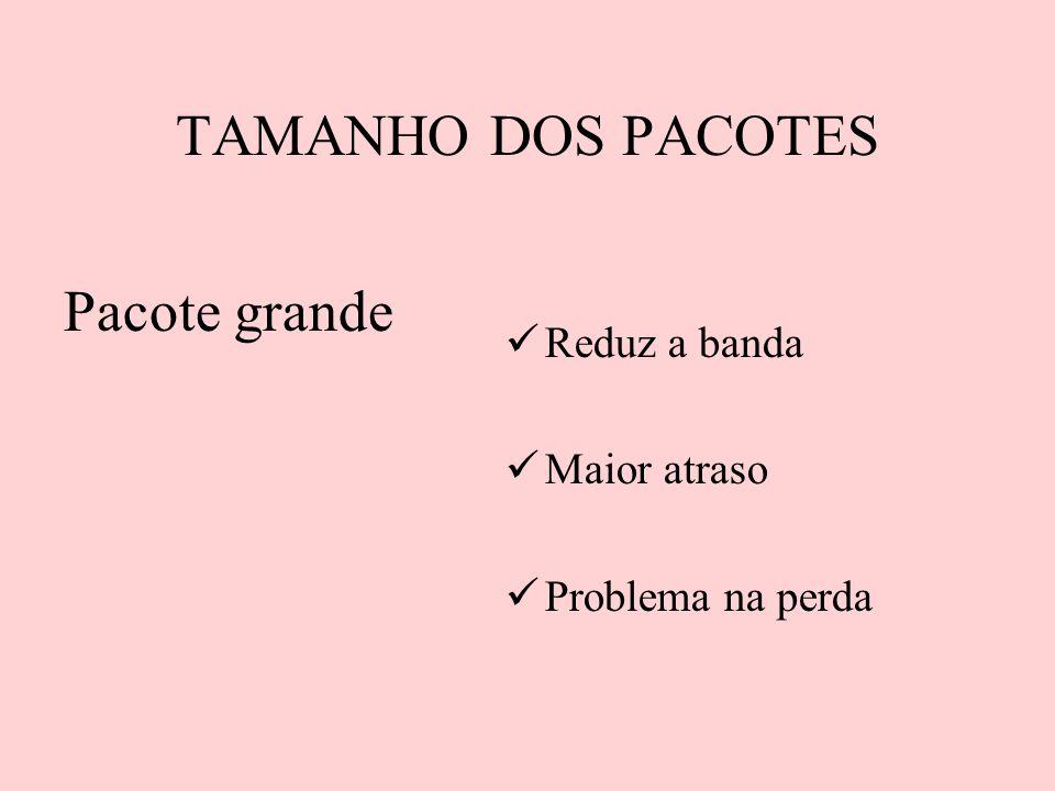 TAMANHO DOS PACOTES Pacote grande Reduz a banda Maior atraso