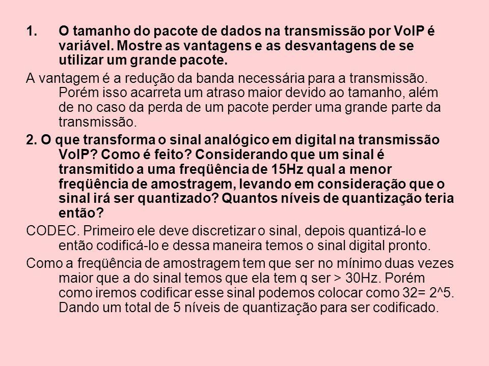 O tamanho do pacote de dados na transmissão por VoIP é variável