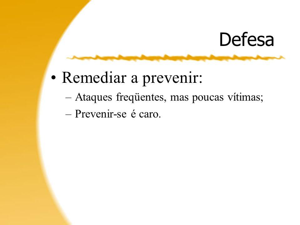 Defesa Remediar a prevenir: Ataques freqüentes, mas poucas vítimas;