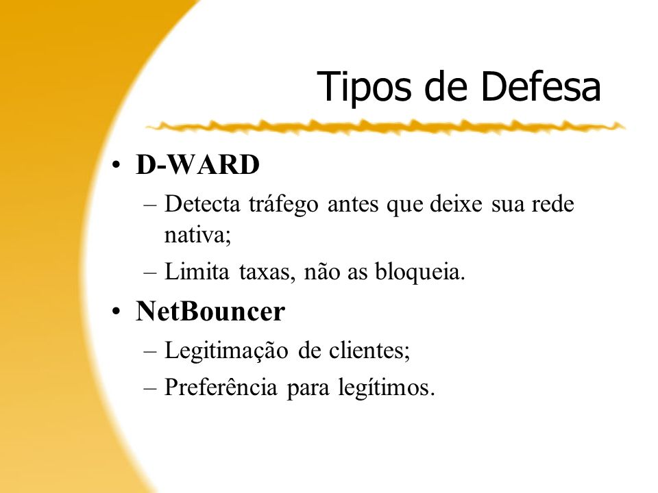 Tipos de Defesa D-WARD NetBouncer