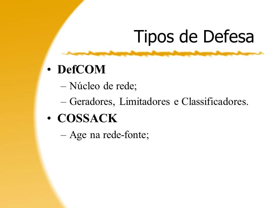 Tipos de Defesa DefCOM COSSACK Núcleo de rede;