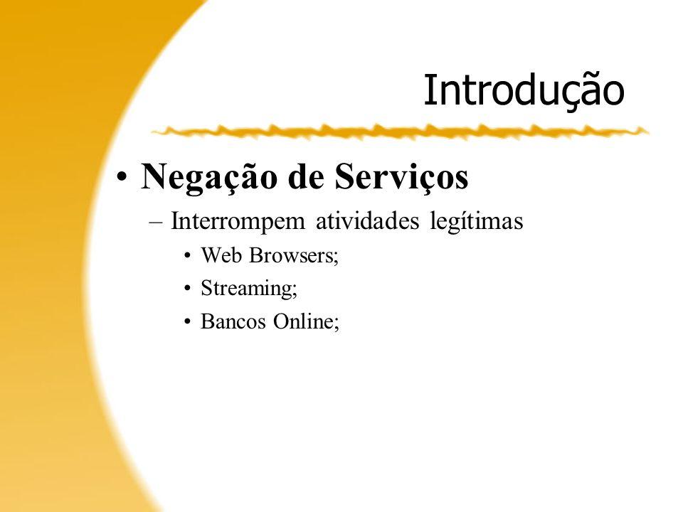 Introdução Negação de Serviços Interrompem atividades legítimas