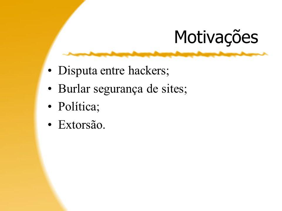Motivações Disputa entre hackers; Burlar segurança de sites; Política;