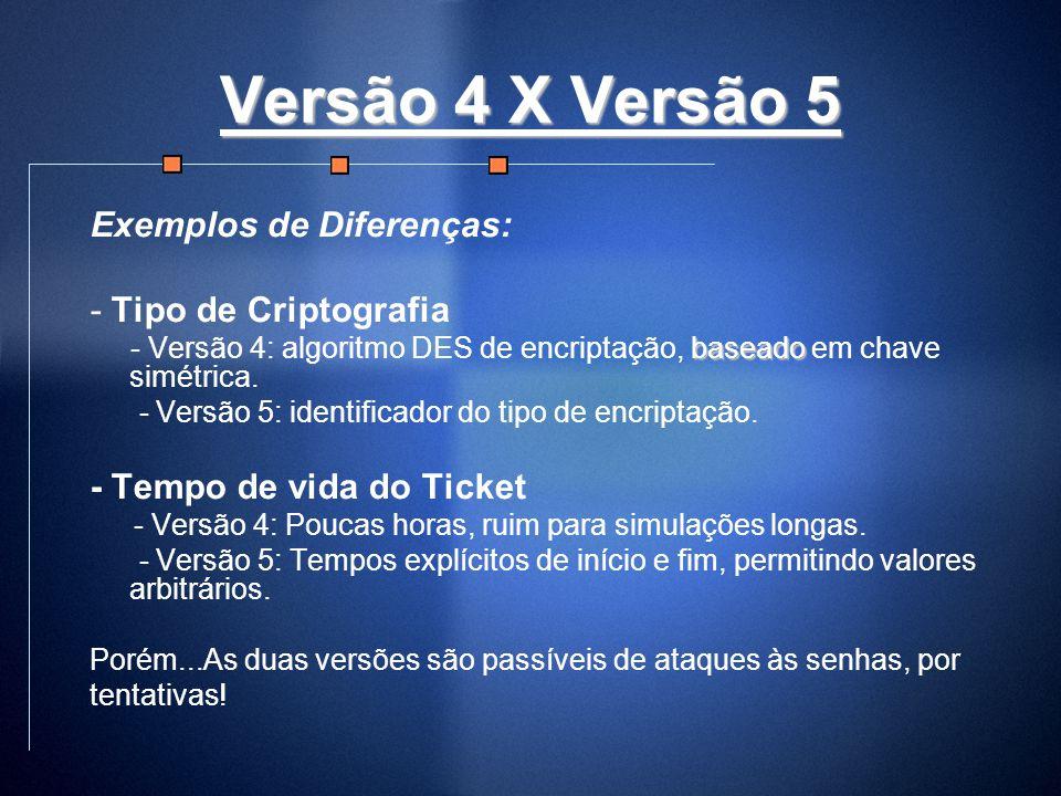 Versão 4 X Versão 5 Exemplos de Diferenças: - Tipo de Criptografia