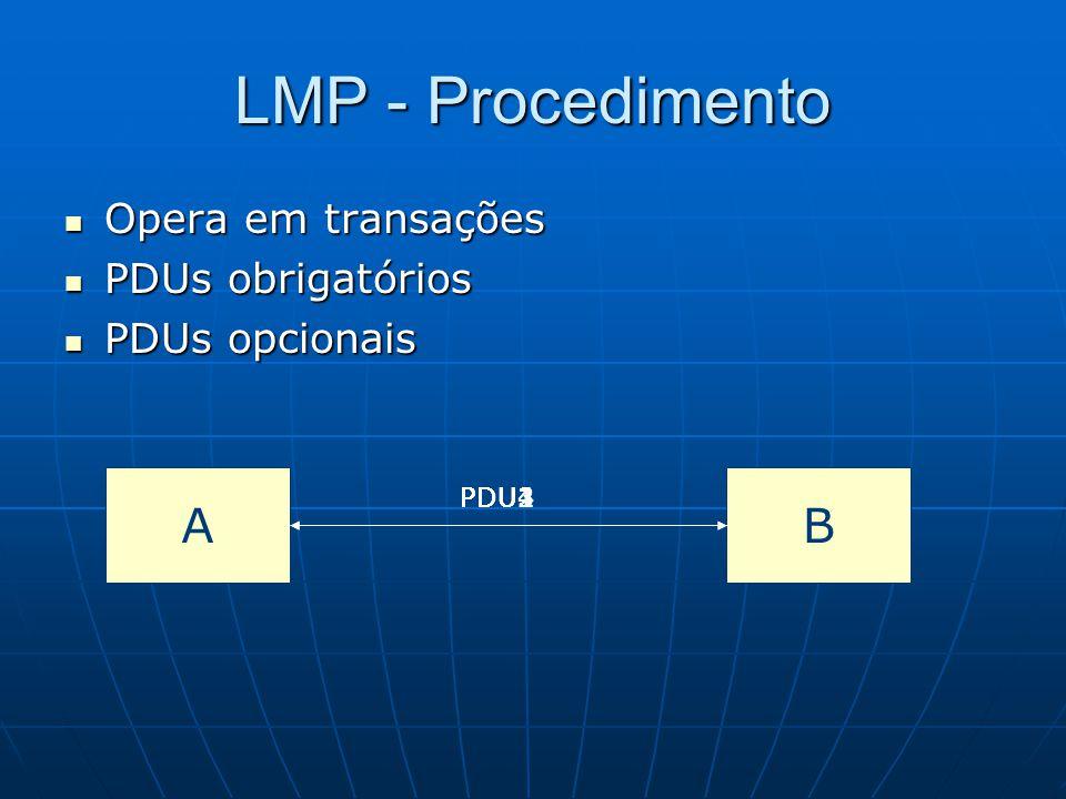 LMP - Procedimento A B Opera em transações PDUs obrigatórios