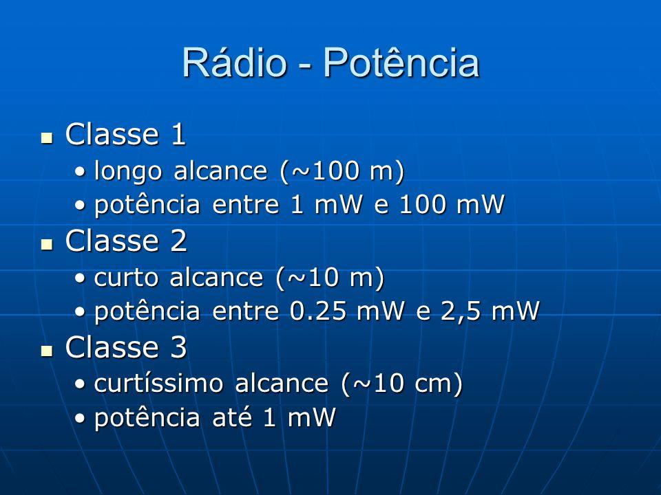 Rádio - Potência Classe 1 Classe 2 Classe 3 longo alcance (~100 m)